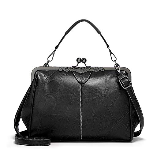 Segater Women Retro Hollow Oil Wax PU Leather Handbag Kiss Lock Crossbody Purse Vintage Messenger Bag Tote