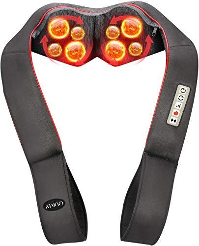 Masajeador de Espalda con Modo de Vibración, 8 Rodillos, 3D Rotación con Calor, 3 Intensidades, 5 Botones, Shiatsu Masajeador Cervical y Espalda/Cuello/Hombro/Piernas, Regalo Perfecto