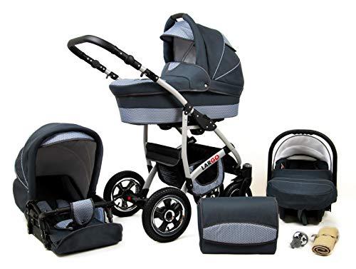 Kinderwagen Largo,3 in 1 -Set Wanne Buggy Babyschale Autositz mit Zubehör Magic Grey
