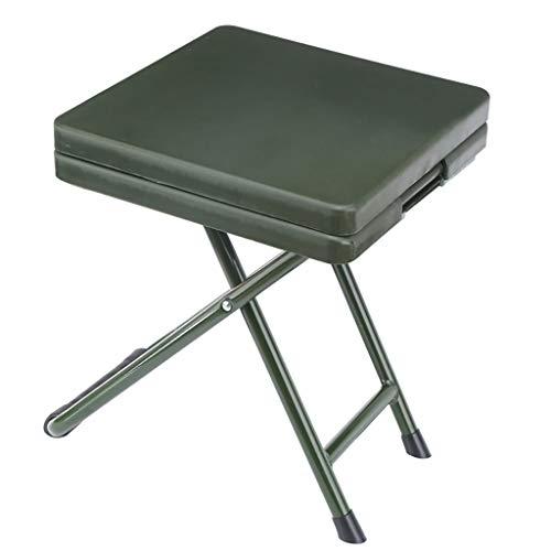 Troupes de chaises pliantes Tabouret pliant Soldat de terrain Apprendre Tabouret Fan militaire (Couleur : ArmyGreen With drawer)