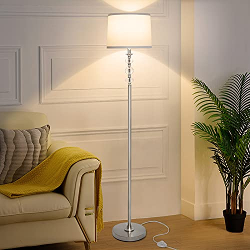 LED Floor Lamp with Dimmer, FANDBO Modern Standing Lamp Fully Dimmable Tall Pole Lamp with White Shade Crystal Reading Floor Lamp Silver Corner Light for Living Room Bedroom, Bright 8W Bulb Included