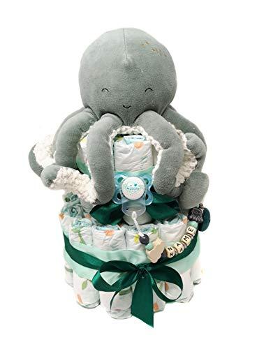 Elfenstall Windeltorte/Pamperstorte mit Schnullerkette/Schnuller und Little Dutch Oktopus und vielen Extras als tolles Geschenk zur Geburt oder Taufe auf Wunsch mit Namen des Babys