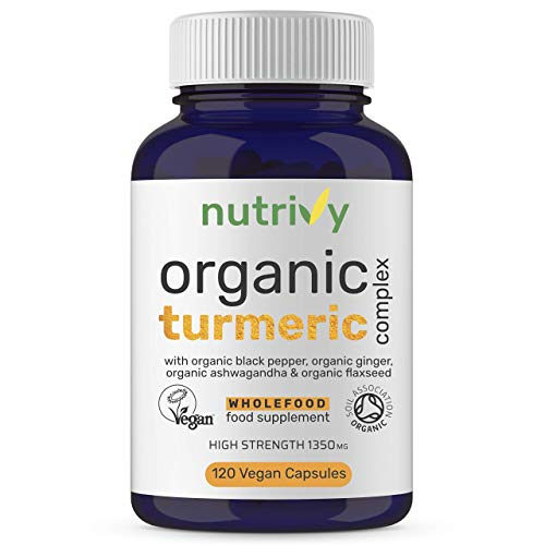 Organic Turmeric Curcumin Capsules High Strength 1350mg with Black Pepper (95% Piperine for Max Immune Support), Ashwagandha, Ginger & Flaxseed, Turmeric Supplement, Organic – 120 Vegan Capsules