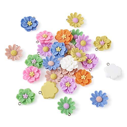 Beadthoven - 22 colgantes de resina con diseño de margaritas de flores y flores, para manualidades, llavero, agujero, 2 mm