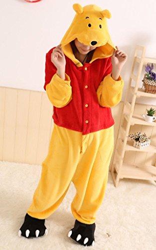 Winnie the Pooh Fernsehcharakter Unisex-Einteiler, Kostüm mit Kapuze, Pyjama