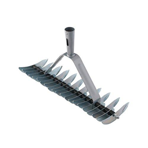 Xclou Rastrello a 32 denti in acciaio e steli conici - Rastrello da giardino in metallo per rimuovere foglie, muschio e altro - Senza manico, grigio
