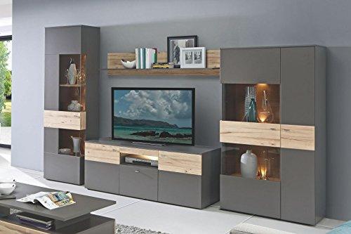 Forte Möbel Wohnwand Grau mit Absetzung in planked Eiche mit Beleuchtung