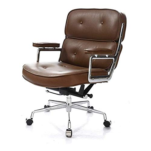 Silla de escritorio de oficina, silla de cuero, silla ejecutiva, silla giratoria para el hogar, cómodo asiento ancho con apoyabrazos