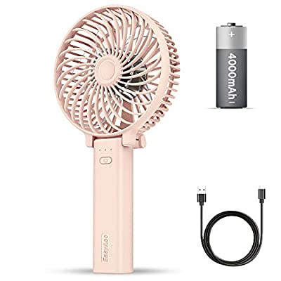 EasyAcc 4000mAh Upgraded Handheld Fan Electric Mini Portable Outdoor Fan Battery Operated 23 Hours Battery Reminder Silent Foldable Handle Desktop For Home Travel - Pink