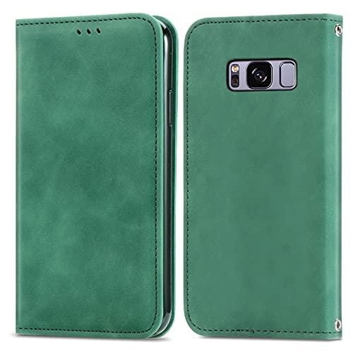 ZHANGHUI Funda protectora con tapa para Samsung Galaxy S8, cierre magnético, funda de piel con ranuras para tarjetas, cubierta de protección (color verde)