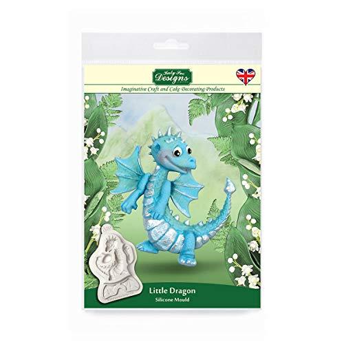 Katy Sue Designs Little Dragon Molde de silicona para decoración de tartas, manualidades, magdalenas, galletas, dulces, tarjetas y arcilla, apto para alimentos, fabricado en el Reino Unido, Gris