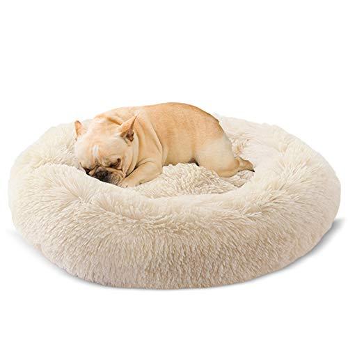 Docatgo Rund Hundebett 60X60CM Flauschig Katzenbett Waschbar Hundekissen Weiches Plüsch Donut Haustierbett für Katzen Hunde
