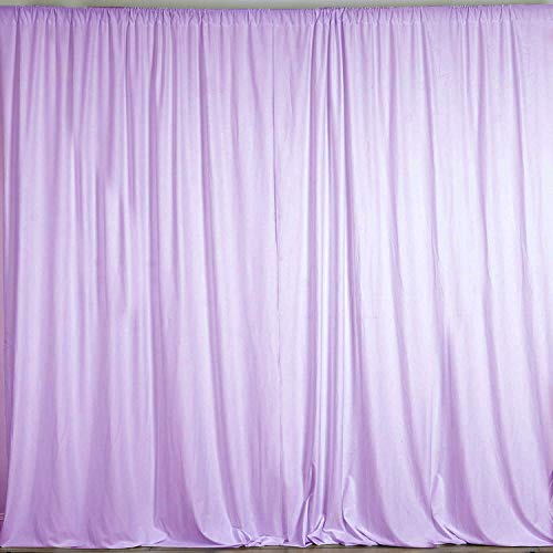 AK TRADING CO. 10 feet x 10 feet Polyester Backdrop Drapes Curtains Panels with Rod Pockets - Wedding Ceremony Party Home Window Decorations - Lavender