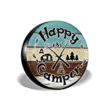 Happy Camper Camping Funny Spare Wheel Tire Cover Waterproof for Trailer RV SUV Truck Camper Travel Trailer Accessories(14,15,16,17 Inch)