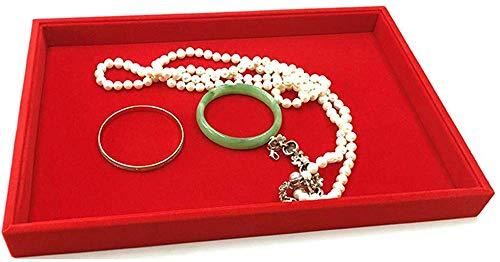 HJ Zuhause Schmuckschatulle Rot Flanell Ring Halskette Armband Ohrringe Gitter Display Fach Aufbewahrungsbox 35 * 24 * 3 Cm,leere Teller