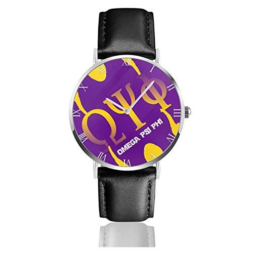 Relojes Anolog Negocio Cuarzo Cuero de PU Amable Relojes de Pulsera Wrist Watches Omega PSI Phi