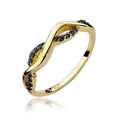 Zlocisto Anillo de mujer elaborado en oro con diamantes negros talla brillante de 0,07ct Muestra585 , peso del anillo 1,40 - 1,80 g
