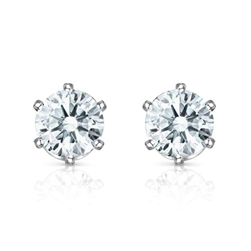 Isabella Silver LONDON Designer Jewellery 925 Sterling Silver 5mm Clear Zirconia Stud Earrings with 6 Claw Setting