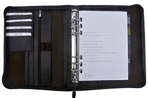 Terminplansystem Zeitplaner Terminplaner Ringbuchkalender DIN A5 Leder Braun Mit Reißverschluss