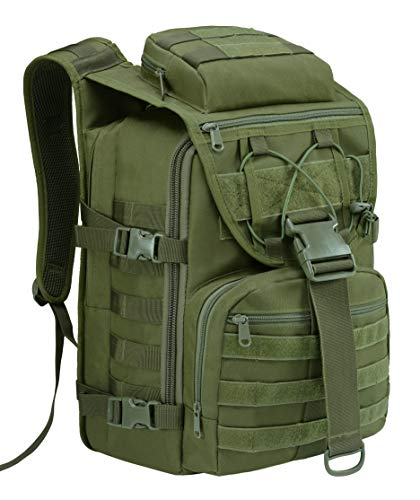 T1FE 1SFE 35L Military Tactical Backpack Large Waterproof Molle Bug Out Bag Army 3 Day Assault Pack (Green 1)