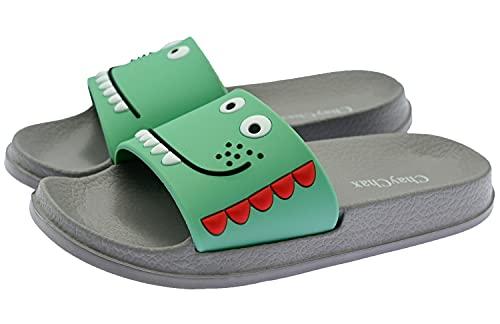 ChayChax Zapatillas de Baño para Niños Ligero Bañarse Chanclas de Casa Suave Zapatos de Playa y Piscina para Niña Niño,Gris B,32/33 EU