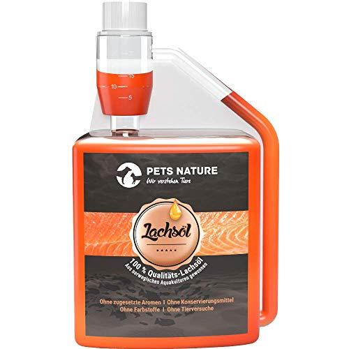 Pets Nature Lachsöl für Hunde und Katzen reines Premium Fischöl mit Omega 3 und 6 für Ihren Hund, Katze und Pferd, 500 ml