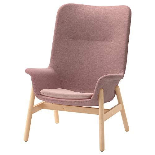 VEDBO fåtölj med hög rygg 80 x 85 x 108 cm ljusbrun-rosa