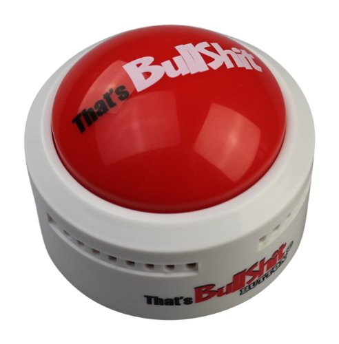 Talkie Toys Products That's Bullshit Button (White) - Talking Button Features Hilarious BS Sayings - Funny Gifts for Calling Out Fake News, Political bs and More