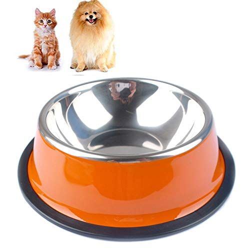 Stainless Steel Pet Dog Bowl,Rubber Base Non Slip Kitten Puppy Food Feeder Water Drinking Bowls for Cats Dogs Rabbits (Color : Orange, Size : XXL)