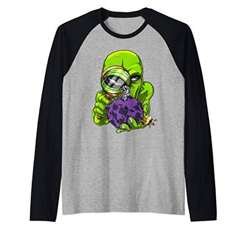 El Astronauta Espacial Extraterrestre Ciencia Ficción Camiseta Manga Raglan