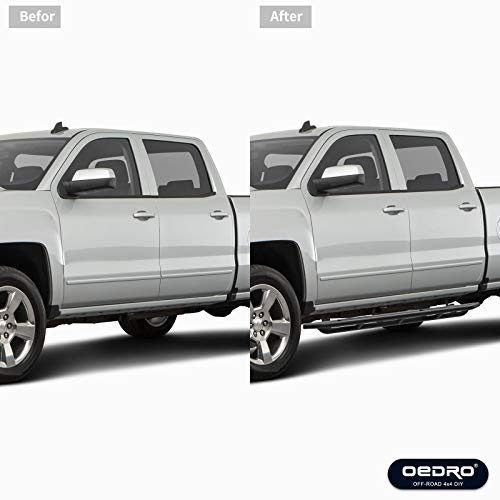 OEDRO 6 inch Side Steps Compatible with 2007-2018 Chevy Silverado/GMC Sierra 1500 & 2007-2019 2500/3500HD Crew Cab, Unique Multi-Layer Textured Black Running Boards Nerf Bars