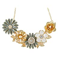 Alilang Womens Flower Rhinestones Pearl Statement Bib Golden Tone Necklace With Gray Yellow Enamel