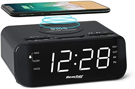 REACHER Digital Radio Alarm Clock with Wireless Charging USB Port Large Dimmable LED Display product image