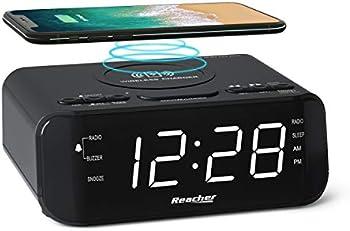 Reacher Digital Radio Alarm Clock with Wireless Charging