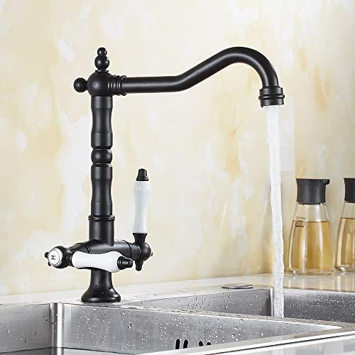Grifo monomando de lavabo con boquilla superior a 360° para grifo de lavabo, retro, vintage, latón cromado, mango de cerámica caliente y frío (negro)
