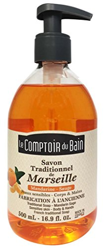 Le Comptoir du Bain Savon de Marseille Liquide Mandarine Sauge 500 ml lot de 3
