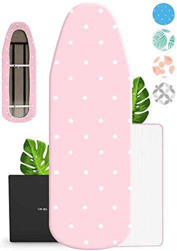VINEL® Bügelbrett Bezug 120 x 40 für Dampfbügeleisen (100{dee22bfa74a336d1658d53b3cc291a5315549f0ceab46882f09c0df9527c3049} Baumwolle, Komfort Polster) Buegeltisch 125x45, Bügeltisch Bezug für Dampfstation - XL Bügelunterlage 120x38 mit Bügelschutztuch - Pink Rosa