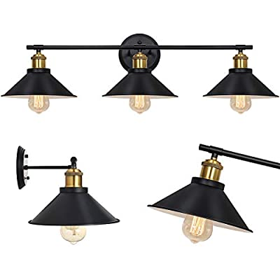 HAITRAL Bathroom Vanity Light Fixture, Farmhouse Black Wall Sconce with 3-Light, Industrial Vanity Lights for Bathroom Vanity Mirror Cabinets Dressing Table
