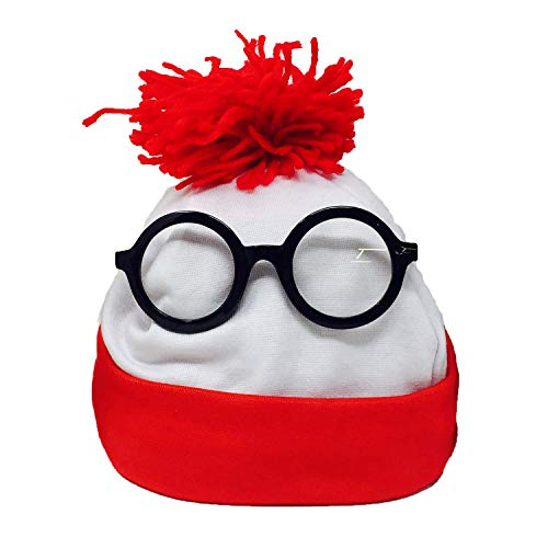 Winter Beanie Hat - Red White Waldo Hat and Glasses Costume for Men and Women