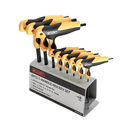 Juego de llaves hexagonales con 8 piezas, mango ergonómico en T marca Mount, acero Cr-V, Kit portátil de herramientas con soporte de metal para el hogar y reparación de vehículos, Métricas