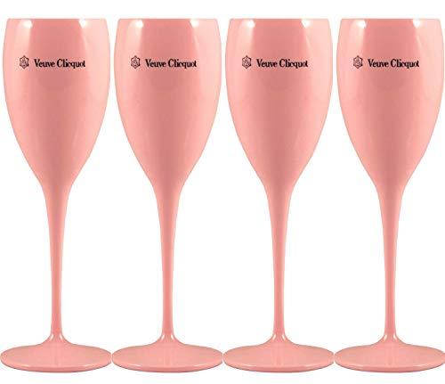 Veuve Clicquot - Copas de champán (4 Unidades), Color Rosa