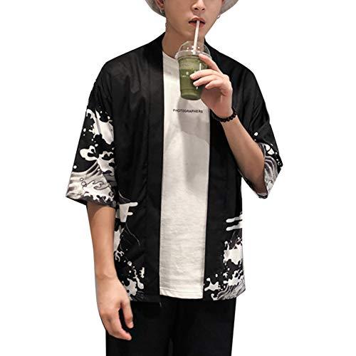 LaoZanA Hombre/Mujer Camisa Kimono Estilo Japonés Estampado Holgado Cárdigan 3 M