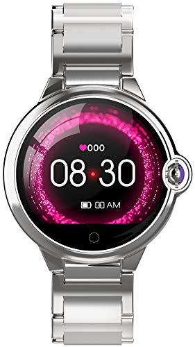 Smartwatch Fitness Tracker Multifunktionen Elegante Damenuhr Edelstahl Armband Schrittzähler Blutdruckmessung Frauen IOS Android