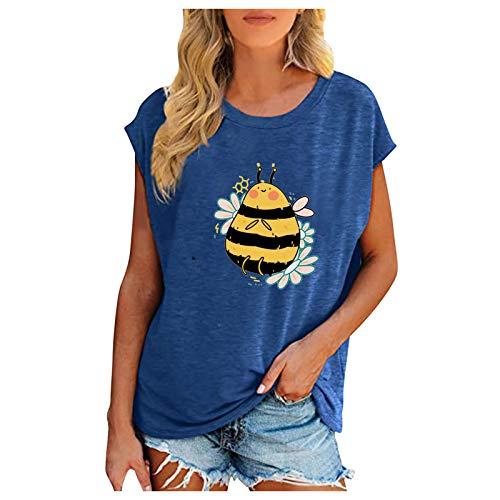 Camiseta de manga corta para mujer con estampado de abejas, elegante, para verano, básica, con cuello redondo, azul B, L