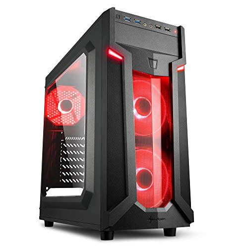 Sharkoon VG6-W - Caja de Ordenador, PC Gaming, Semitorre ATX, Negro/Rojo