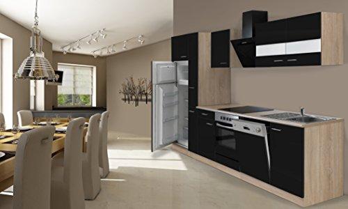 respekta Inbouw keuken kitchenette 310 cm eiken Sonoma ruw gezaagd zwart incl. koel-vriescombinatie Ceran & vaatwasser