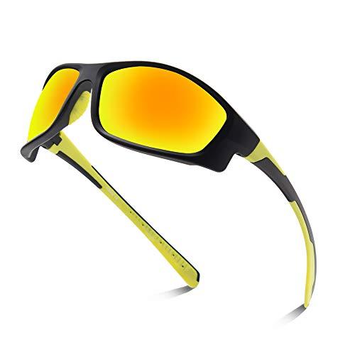 OULIQI Radbrille Polarisierte Sportbrille Fahrradbrille mit UV-Schutz für Herren Damen, für Outdooraktivitäten wie Radfahren Laufen Klettern Autofahren Angeln Golf (Schwarz Gelb)