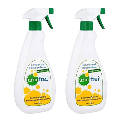 Urin Frei Duopack (2x750ml) Sprühflasche Geruchs- und Fleckenentferner (Urinfrei Urinentferner)