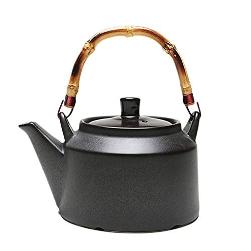 ANXI Teekanne Steingut Teekanne Glaskeramikherd Holzkohle-Ofen Gasherd kann Kochen Kung Fu Tee-Set Keramik Kessel Tongefäß Teezeremonie Tee (Color : A)