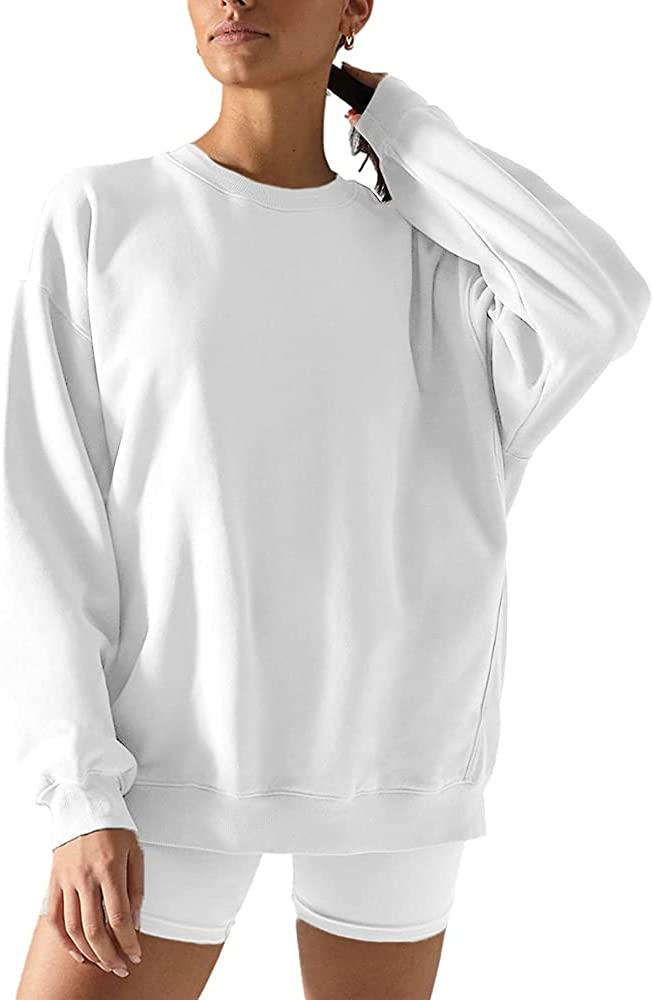 Womens Lightweight Oversized Sweatshirts Crewneck Pullover Casual Long Sleeve Tops Loose Fit